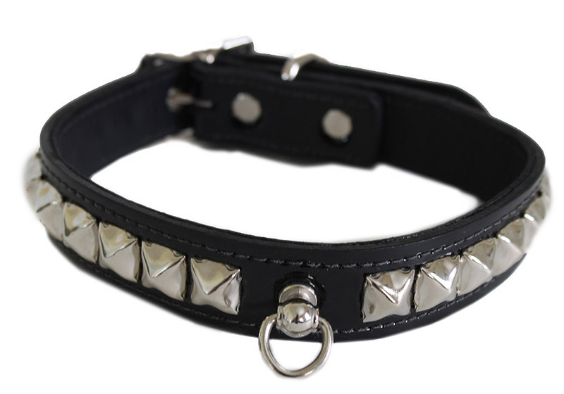 Leather Collar with Pyramid Studs