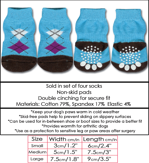 Blue & Brown Argyle Doggy Socks
