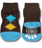 Brown, Yellow & Blue Argyle Doggy Socks