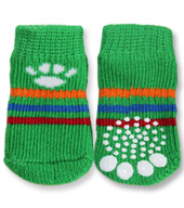 Green with White Paw Doggy Socks