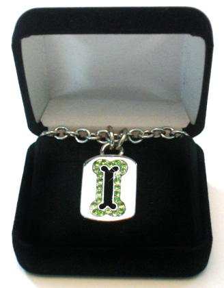 Sterling Silver Dog Tag Necklace with Green Swarovski Crystal Bone