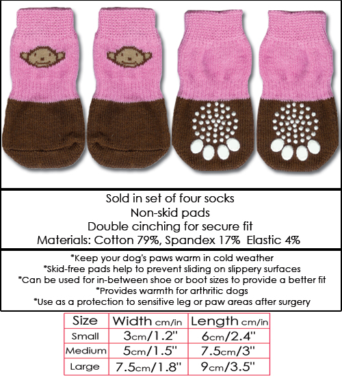 Pink & Brown Monkey Doggy Socks