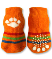 Orange with White Paw Doggy Socks