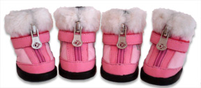 Pink Hiker Boot with Faux Fur Trim