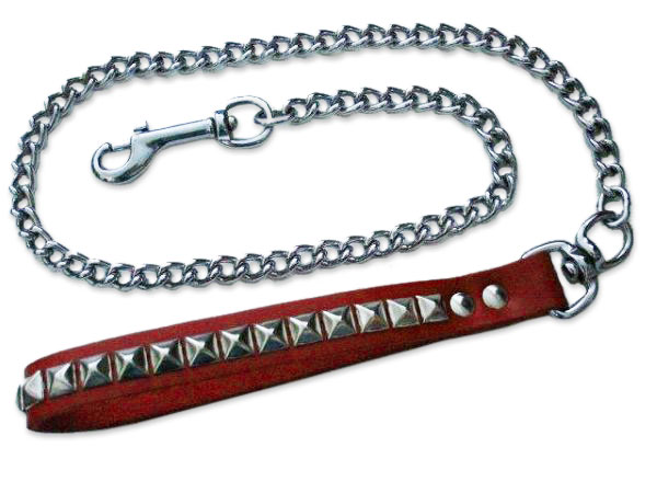 Red Chain Leash with Silver Metal Pyramids