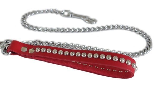 Red Chain Leash with Silver Metal Round Domes