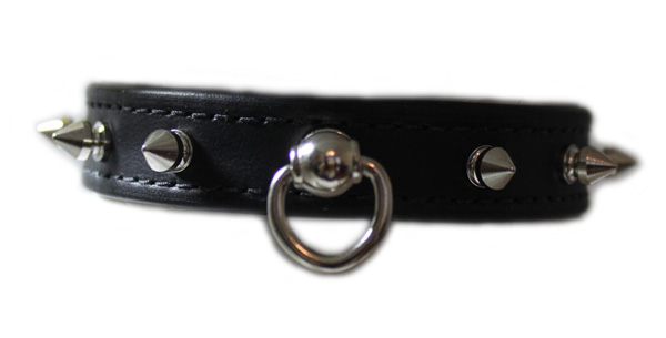 Black Spike Leather Collar